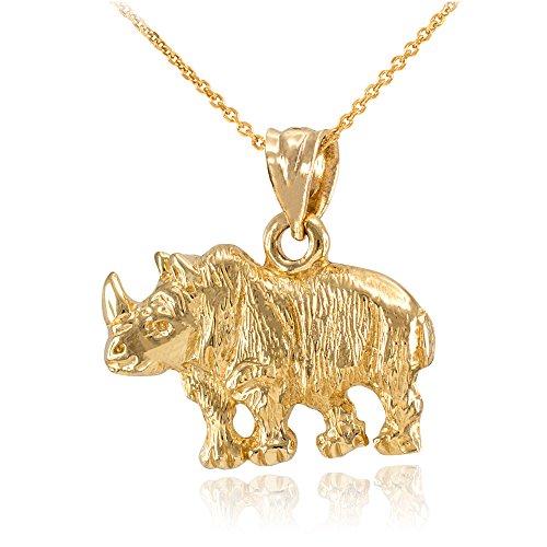 Collier Femme Pendentif 10 Ct Or Jaune Diamant Coupe Africaine Rhinocéros (Livré avec une 45cm Chaîne)