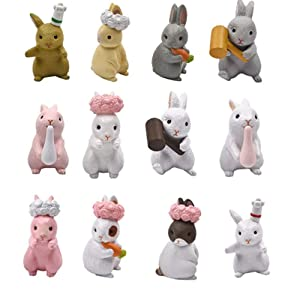 Kimkoala Cute Rabbit Figures Toys, 12Pcs Naughty Plastic Miniature Rabbit Figurines for Handcraft Fairy Garden Ornaments Micro Landscape Decorations Birthday Cake Toppers Kids Gift