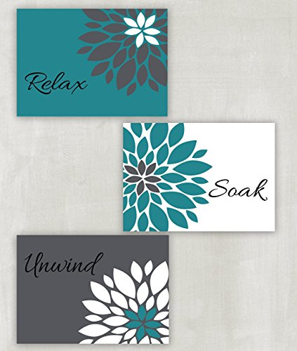Relax Soak Unwind Floral Wall Art in Teal Pewter and White Set of 3 5x7 or 8x10 Prints ((unframed))
