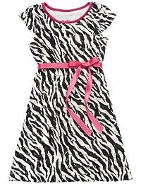 Girls Black / White Zebra Eyelash Mesh Dress , Black / White , 4 - 6X