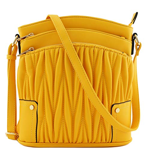 Triple Zip Pocket Large Crossbody Bag (Quilted Yellow)