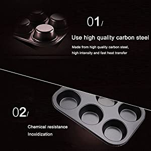 Fubarbar Muffin Pan Non Stick Carbon Steel Bakeware Mold Cupcake Muffin Mold Pan Cake Cookie Baking Pan Muffin Baking Pan Bakeware Tray Pan Bakeware Tray 10.43 x 7.17 x 1.1 inch 6 Cup