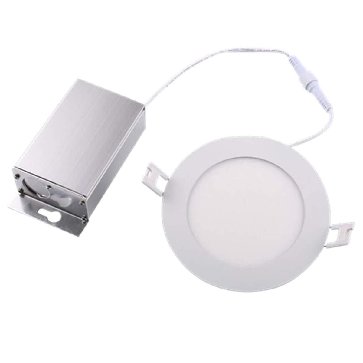 NickLED 4inch 8W Round LED Recessed Panel Ceiling Light IC Rated With Junction Box, Dimmable 5000K-Natural White, 750lumens, Thickness(10mm) Die-casting Aluminum with good heat dissipation