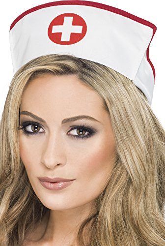 Smiffy's Women's Nurse's Hat, White and Red, One Size, (Nurse Hats)