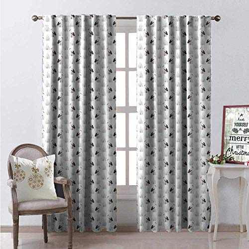 Hengshu Crane Waterproof Window Curtain Standing Stork Birds Pointy Long Beaks and Reed Pattern Decorative Curtains for Living Room W108 x L84 Charcoal Grey Pale Grey and Ru