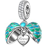NINAQUEEN 925 Sterling Silver Dangle Charms for Pandöra Bracelet Turquoise Angle Wings Love Heart Shape Pendant for Necklace Anniversary Valentines Day Birthday Gifts for Women Wife Mom Daughter Niece