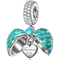NINAQUEEN Christmas Surprising Gifts 925 Sterling Silver Heart Dangle Charms Beads with AAAAA Cubic Zirconias ♥Fit for Pendant&Chocker Necklace♥