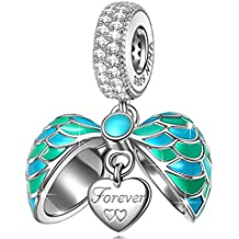 NINAQUEEN Surprising Love 925 Sterling Silver Heart Dangle Charms as Mother Daughter Gifts Beads with Cubic Zirconias ♥Fit for Pendant&Chocker Necklace♥