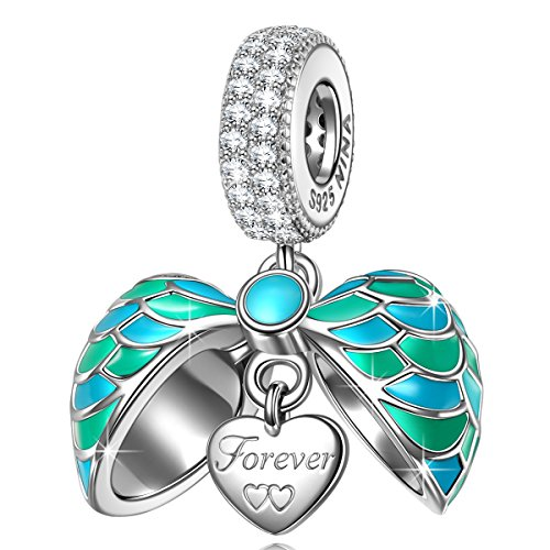 - NINAQUEEN 925 Sterling Silver Dangle Charms for Pandöra Bracelet Turquoise Angle Wings Love Heart Shape Pendant for Necklace Birthday Anniversary for Her Women Wife Mom Daughter Niece