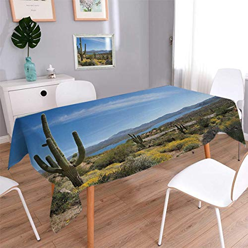 Anmaseven Saguaro Square Washable Tablecloth Big Cactus on t