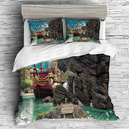TWIN Size Cute 3 Piece Duvet Cover Sets Bedding Set Collection [ Pirate,Big Ancient Ship on Tropical Caribbean Seashore Pirate Island Large Rock Formation,Multicolor ] Comforter Cover Set for Kids Gir