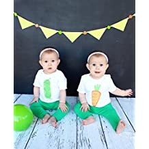 Twin Set Peas and Carrots Baby Bodysuits 100% Cotton