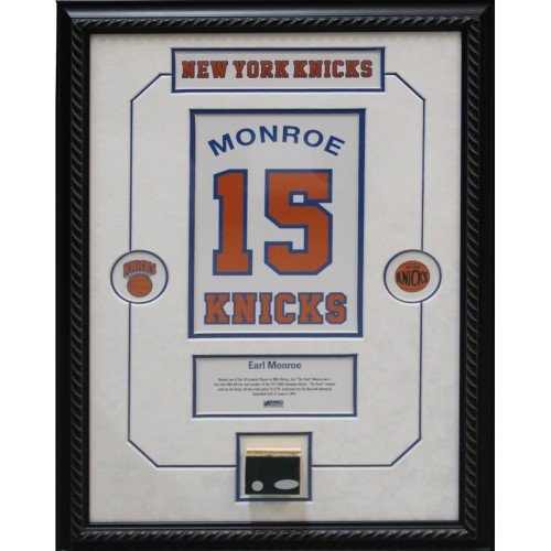 Earl Monroe Retired Number NY Knicks Championship Court Piece 14x20 Framed Collage w/ Nameplate by Steiner Sports