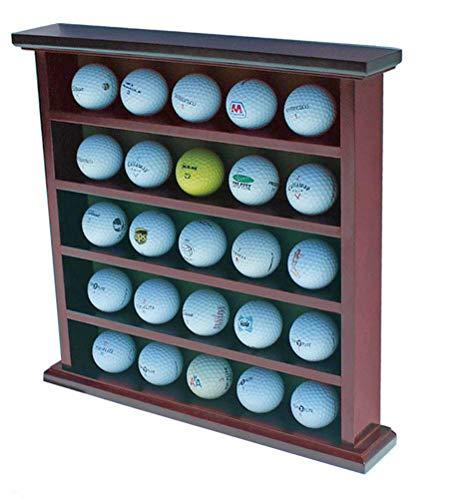 DisplayGifts Golf Ball Display Case Wall Rack Cabinet, NO Door, GB25 (Mahogany) ()