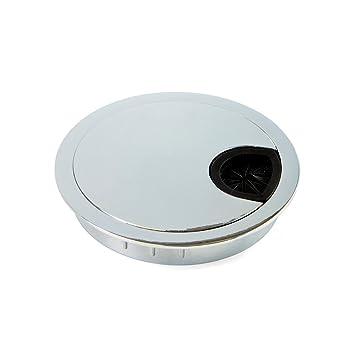 Ø80 mm-Chrome-Inox Acier brossé Metal Desk Câble passe-fils-Ø60 mm