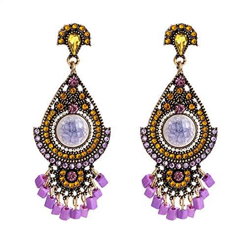 Earrings Chandelier Purple (Fashion Ethnic Tassel Bohemian Jhumka Chandelier Gypsy Dangle Earrings with Disc (Purple-8733))