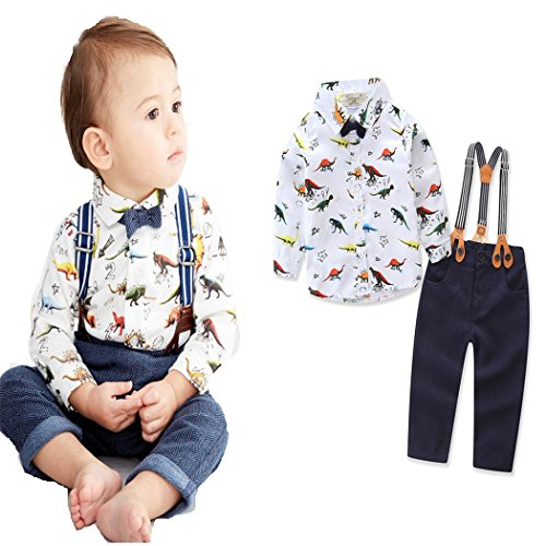 Angelchild Baby Toddler Boy Cute Dinosaur Shirt and Suspender Pants Gentleman Outfits Sets with Bowtie Shirt 100,2-3 T,Shirt and Pants ()