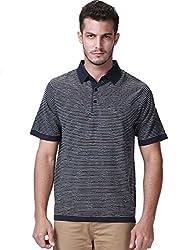 SSLR Men's Casual Block Collar Striped Polo Shirt (Medium, Blue Grey)