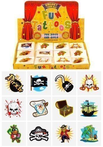 6 Packs of 12 Children Kids Girls Boys Pirate Temporary Tattoos Party Bag Loot Pinnata Fillers 72 in total