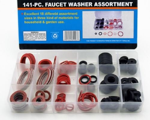 Rubber Faucet Washer Assortment 141pc Gummi Fiber Klingerith Sink Plumbing by Balance World Inc