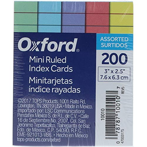 - Oxford Mini Ruled Index Cards, Ruled, 3