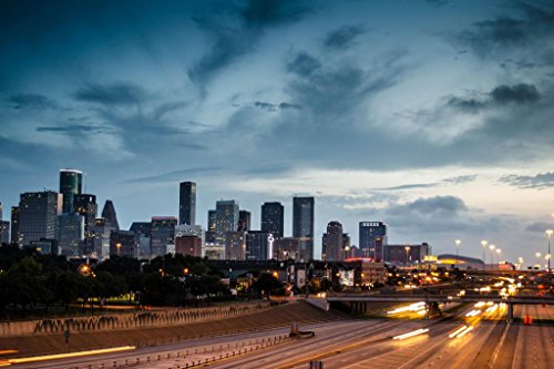 Houston Skyline at Dusk From Busy Expressway Photo Art Print Mural Giant Poster 54x36 - Mural Rockets Houston