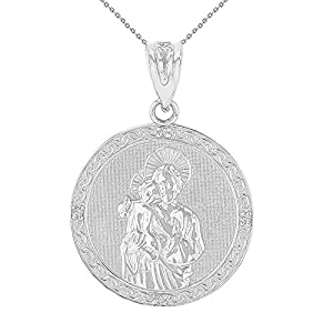 14k White Gold Diamond-Studded Saint Joseph Round Medal Necklace (1.15