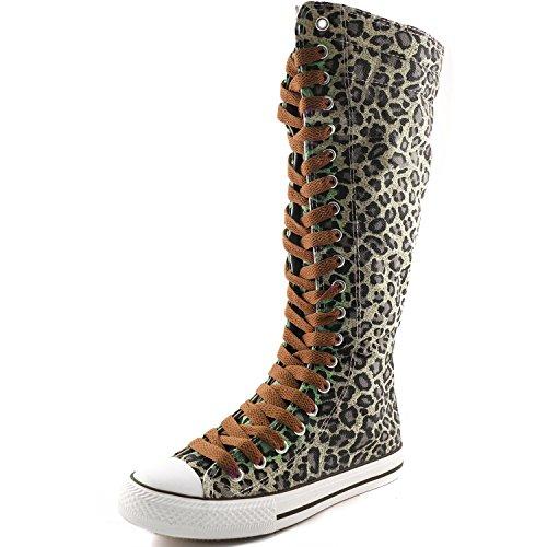 Damestas Damesschoenen Medium Kalf Lange Laarzen Casual Sneaker Punk Flat, Leopard Boots, Cognac Lace