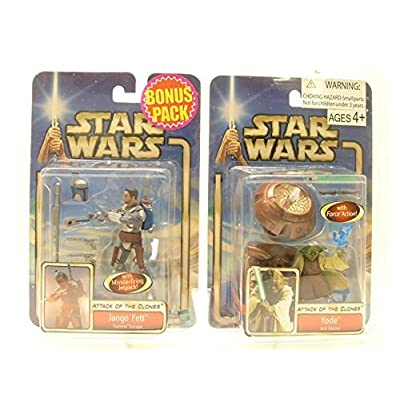 STAR WARS ATTACK OF THE CLONES JANGO FETT AND YODA EXCLUSIVE BONUS PACK: Toys & Games