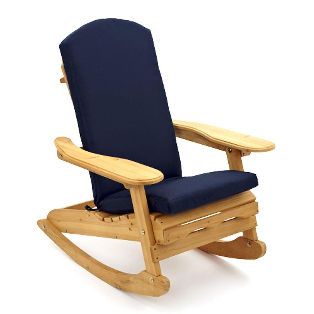"""Bowland"" Adirondack Garden Patio Wooden Rocking Chair + Blue Luxury Cushion Trueshopping"