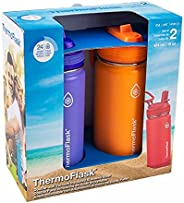 2-Pack ThermoFlask 16oz Stainless Steel Water Bottle
