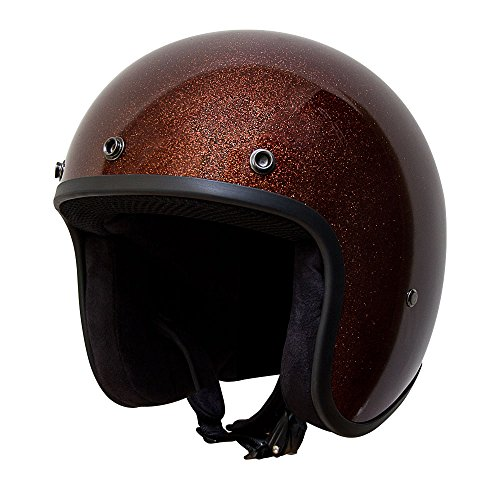 - Voss 501 Bobber Style Fiberglass Ultra Slim DOT Helmet with Metal Quick Release - XL - Metallic Root Beer