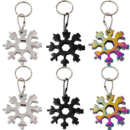 Snowflake Multi Tool 18 In 1 Stainless Steel Bottle Opener Screwdriver Kit Wrench Durable and Portable to Take Great Gift 6 Pack Silver Black Colorful