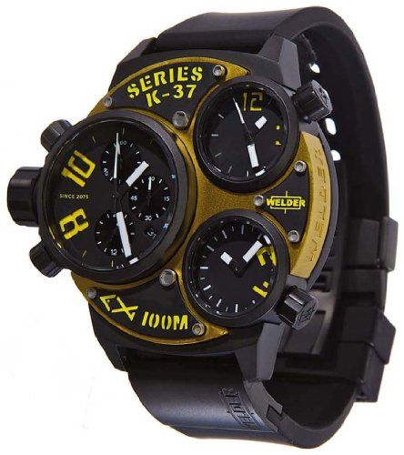 Welder by U-Boat K37 Triple Time Zone Chronograph Black Ion-Plated Steel Mens Watch K37-6501
