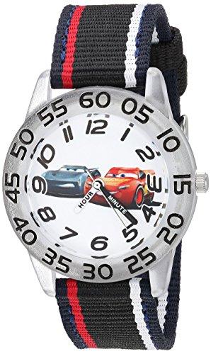 Disney Boy's 'Cars' Quartz Plastic and Nylon Casual Watch, Color:Black (Model: WDS000439)