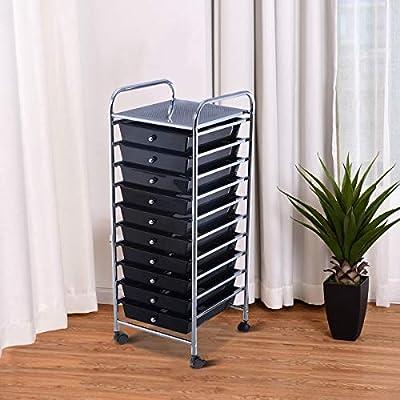 MD Group 10 Drawer Rolling Storage Cart Organizer, Black