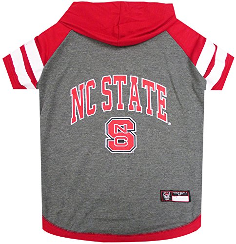 NCAA NORTH CAROLINA STATE WOLFPACK HOODIE for DOGS & CATS, Medium. | COLLEGIATE Licensed DOG HOODY Tee Shirt | Sports HOODY T-Shirt for Pets | COLLEGE Sporty Dog Hoodie Shirt. - Ncaa Licensed Pack