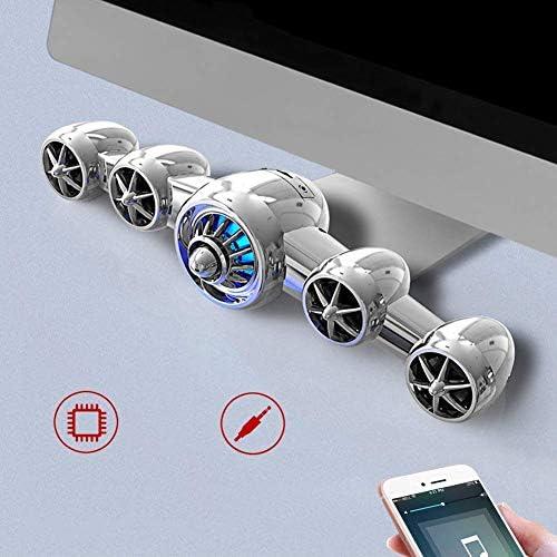 航空機タイプのBluetooth 5.0サブウーファースピーカー、PCのマルチメディア携帯電話用ステレオワイヤレス/ワイヤードUSB AUXサウンドバーを囲みます,銀