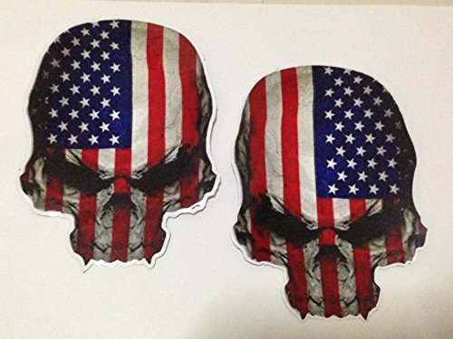 Sticker Skull American Flag USA Military Decal Set size 6 x 4.5 inch (Jet 7 Club Halloween)