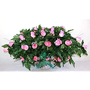 XL Coral Rose Cemetery Saddle Flower Arrangement 12