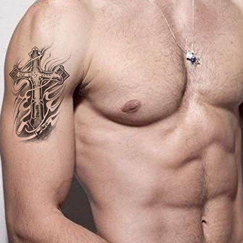 Kotbs 2 Sheets Pack Temporary Tattoo Sticker for Men Waterproof Arm Leg Body Art Fake Tattoos Cross Designs - My Only Love