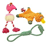#9: Small Dog Toy Set of 3 - Durable Chew Cotton Rope Toys, Squeaky Dog Toy for Puppy