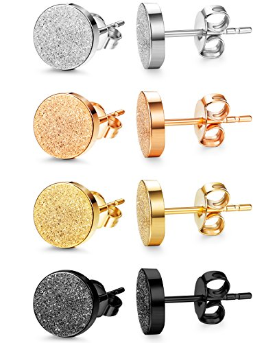 Jstyle 4 Pairs Stainless Steel Stud Earrings for Men Women Ear Piercing 6-8mm