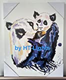 Hand Painted Panda Animal Oil Painting Mom and Baby Dictionary Wall Art Decor. Stretched The Canvas Over a Wooden Frame 16'' W x 1'' D x 20'' T