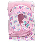 Cribmates Blanket with Neck Support, Pink/Blue/White Butterfly