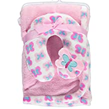 "Cribmates Baby Girls' ""Butterfly Baby"" 2-Piece Blanket Set - pink, one size"