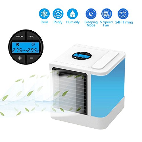 Kobwa - Mini enfriador de aire de espacio personal 3 en 1 portátil, humidificador y purificador con 7 colores ajustables, 3...