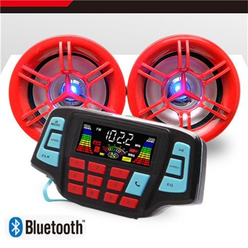 Beyondcity Motorcycle Bluetooth,Handfree,Audio System,FM Radio Stereo,Amplifier Speaker UTV,ATV, LED Speakers USB Audio System Stereo