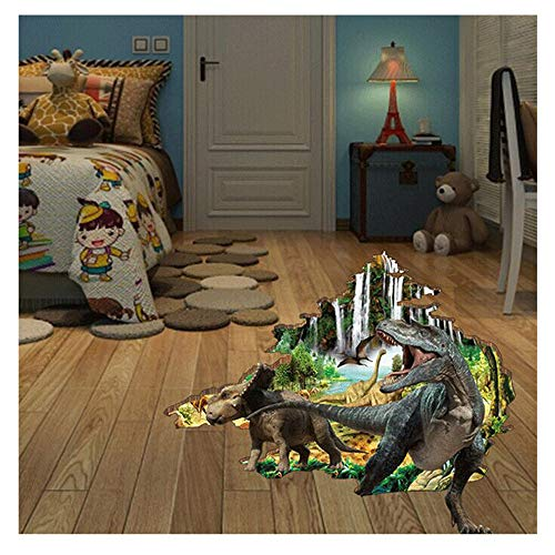 (Wociaosmd 3D Dinosaurs Simulation Crack Hole Stickers Self-Adhesive Peel and Stick Wall Decal Mural Living Room Bedroom Kids' Room Nursery Decor Playroom)