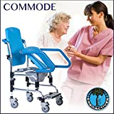 Mobile Commode Chair with Assistive Seat- Helps User To Sit Down/Get Up